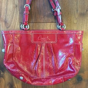 Coach Red Patent Leather Tote Bag
